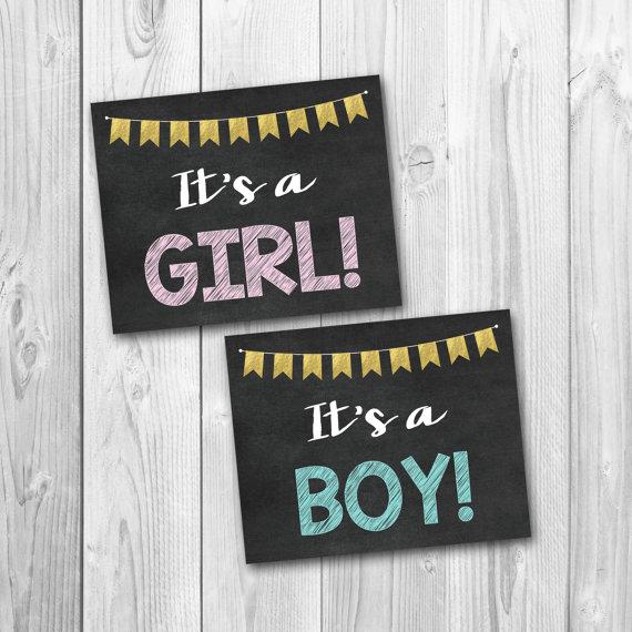 BOGO SALE, Gender reveal, chalkboard signs, baby ...
