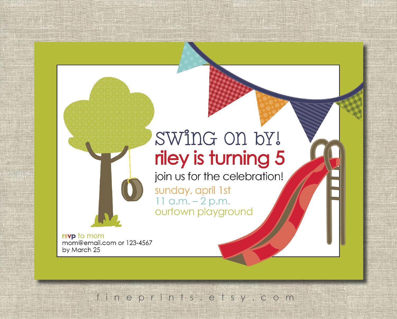 festive playground birthday party invitation. $15.00, via Etsy ...