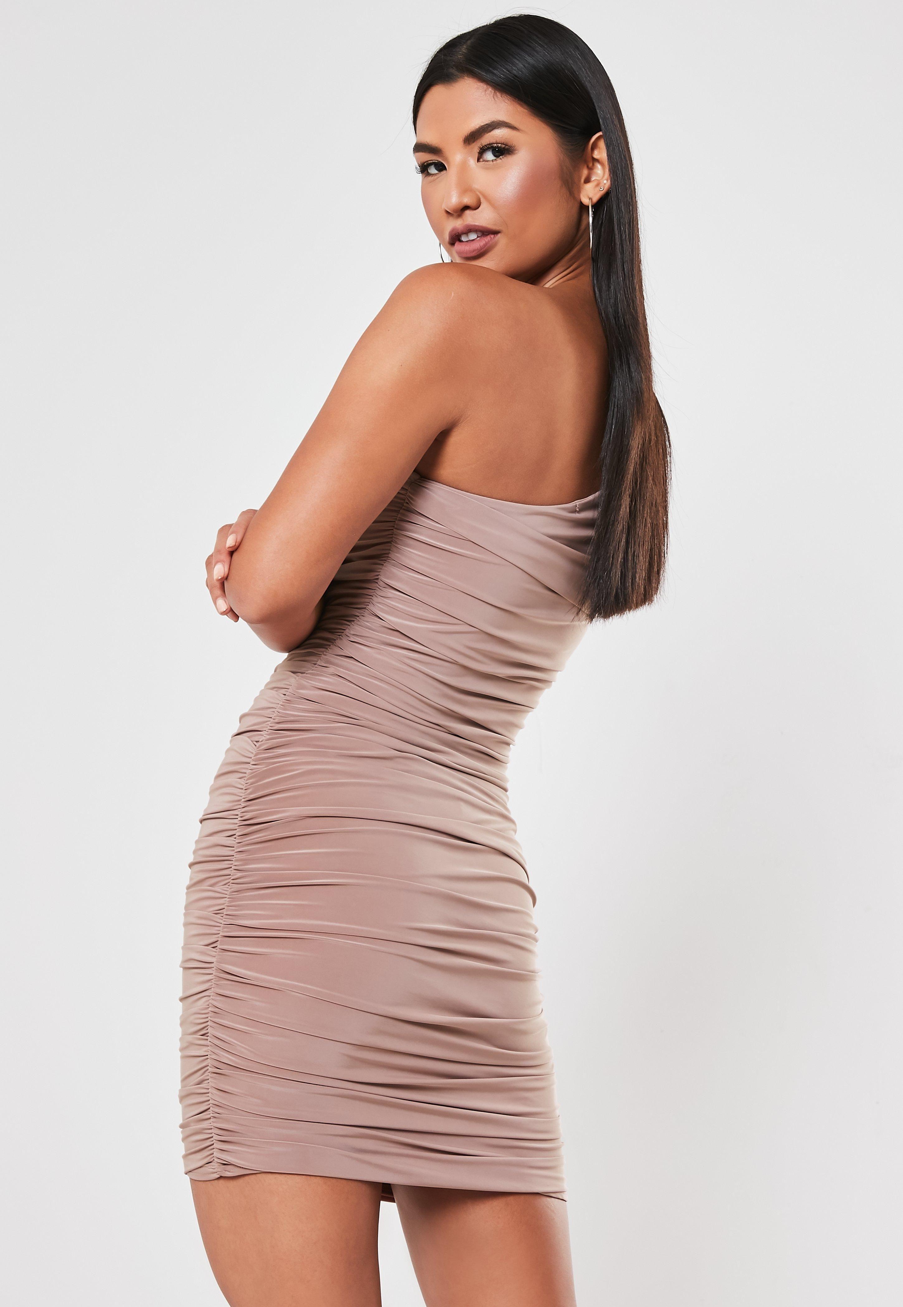 Blush Slinky One Shoulder Ruched Bodycon Mini Dress