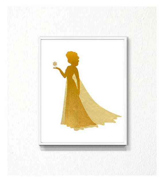 Disney Frozen Elsa silhouette Gold Art Print by myfavoritedecor