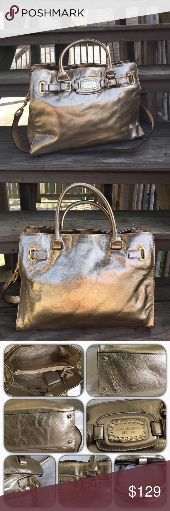 •Michael Kors Handbag• Authentic MK Jewel Hamilton Handbag/gold leather/gold tone hardware/inside features: one zippered pocket and multiple slip pockets/fully lined/magnetic snap closure/only worn twice/no rips or stains/code reads: AV-1406/please ask if you have any other questions before buying/thanks for looking Michael Kors Bags
