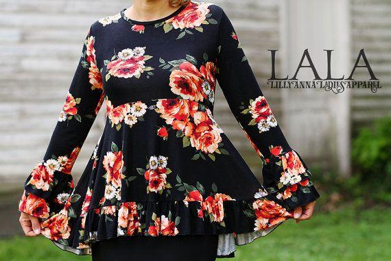 LillyAnnaKids Ladies RUTHIE Top Shirt Peplum LALA by LillyAnnaKids