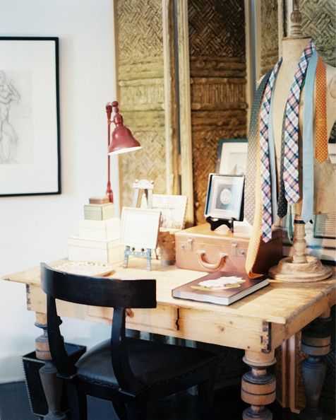 25 Awesome Rustic Home Office Designs: Bohemian Eclectic Rustic Vintage Work Space