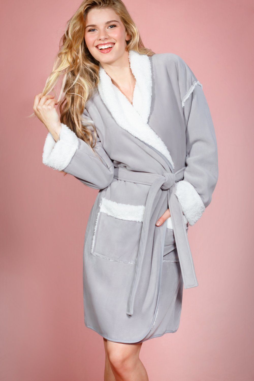 a25976e54a Suede Feel Fabric Coat Robe with Sherpa Lining (Grey). Soft and warm ...