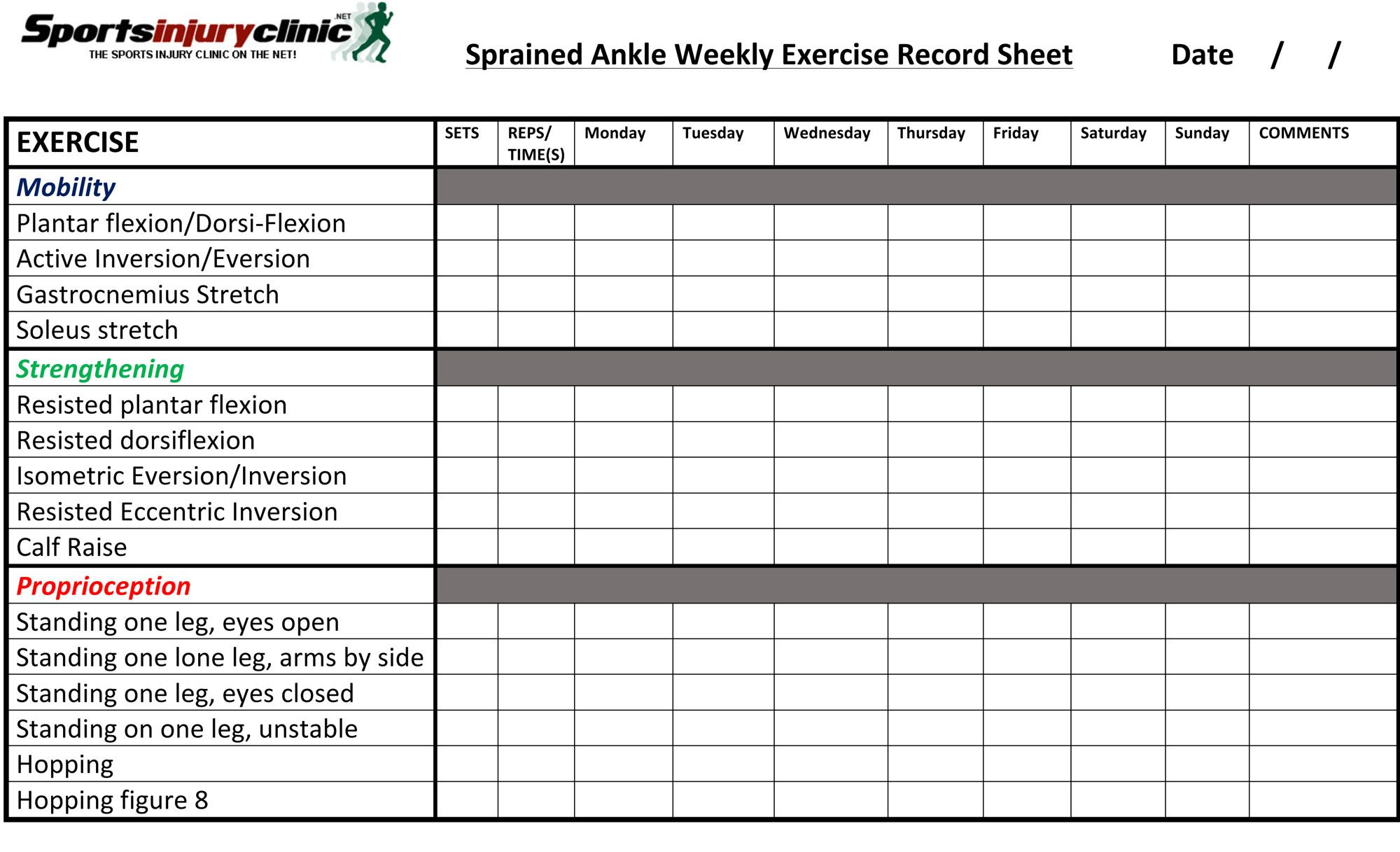 Ankle sprain physical therapy - Your Weekly Ankle Sprain Exercises Record Sheet Download The Pdf Version At Sportsinjuryclinic Net