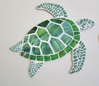 turtle mosaic | Octopus and Sea Turtle Coastal Mosaics, Stained Glass Mosaic ... #StainedGlassMosaic