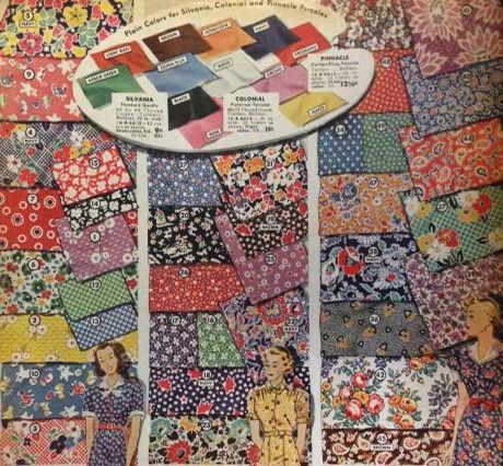 1930s House Dresses Fabrics Patterns Vintage Fabric Patterns Retro Fabric Dress Fabric Patterns