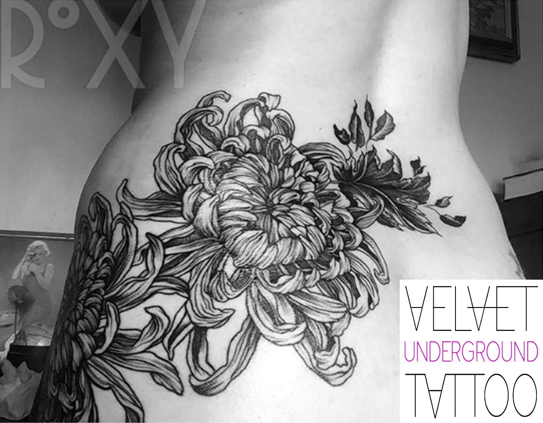 Chrysanthemum Flower Tattoo by Roxy Velvet at Velvet Underground