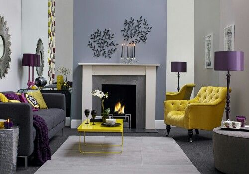 Grey, purple and yellow living room