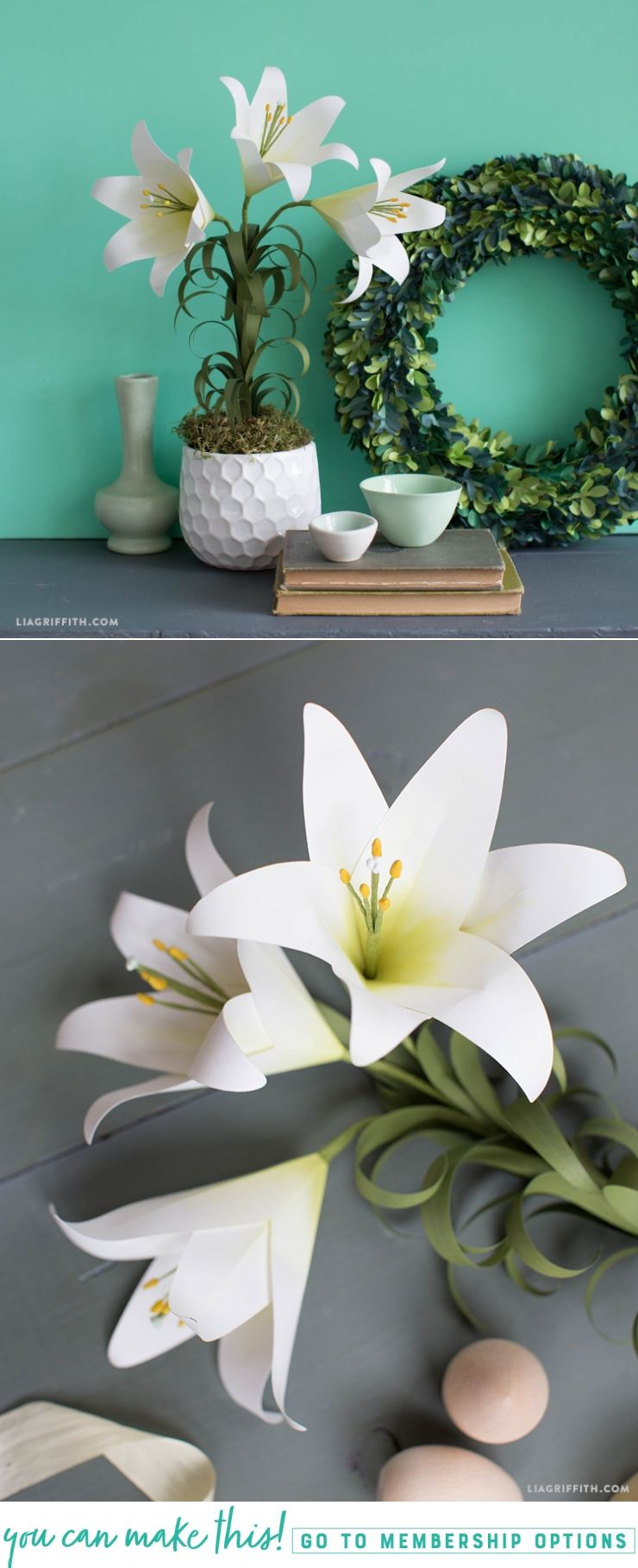 Make An Elegant Potted Easter Lily Flower From Paper Giant Rose