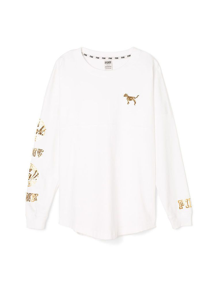 bd328aa4d63d4 Victoria Secret PINK White Gold Bling Varsity Crew XS Long Sleeve T ...