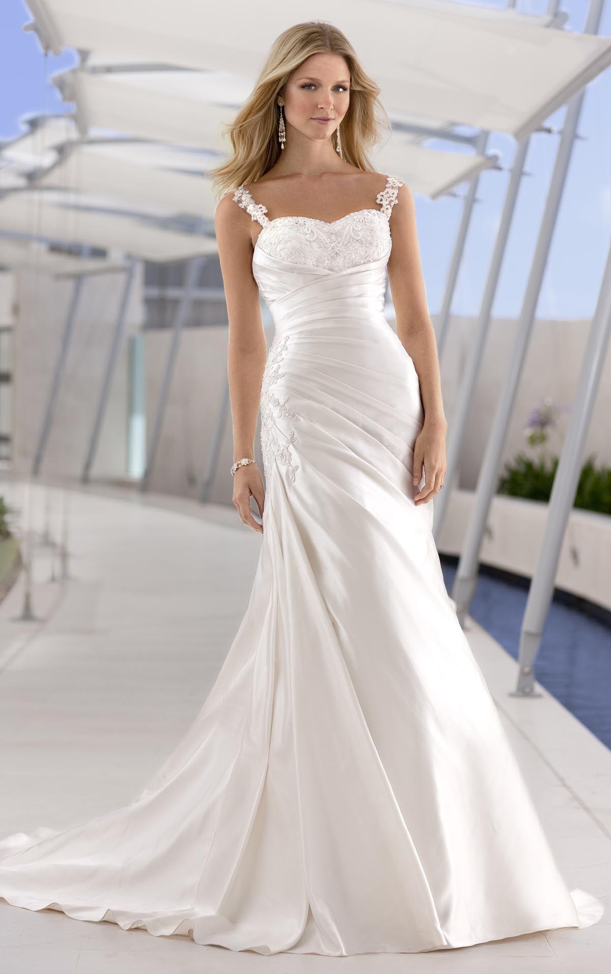 Satin sleeveless detachable lace straps a-line asymmetrical pleated ...