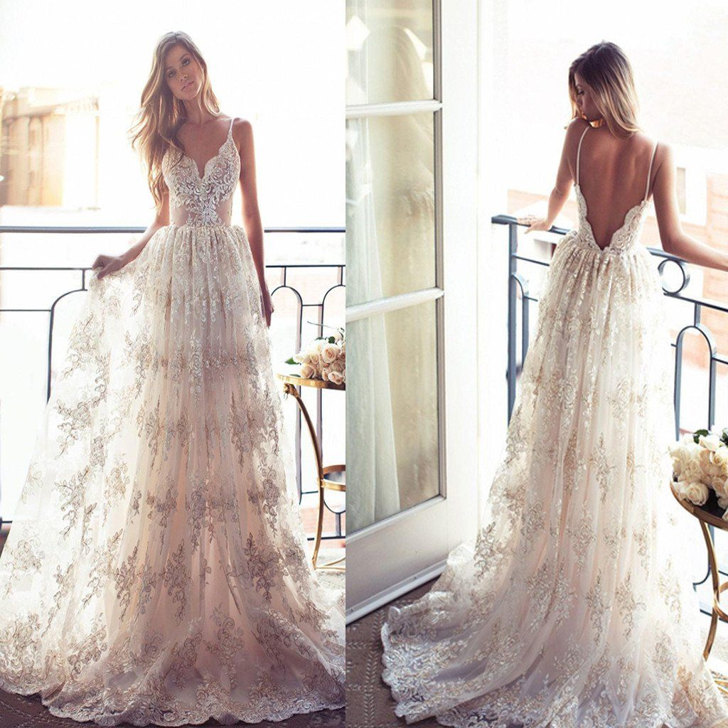 Long aline spaghetti vback sexy lace bridal gown wedding party