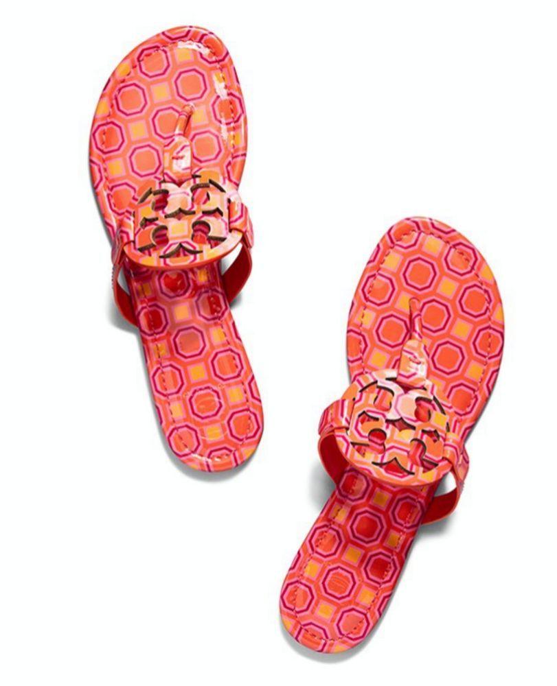 810602f43fca0 NIB Tory Burch Miller Sandals Vivid Orange Size 9 Patent Leather  ToryBurch   Thong