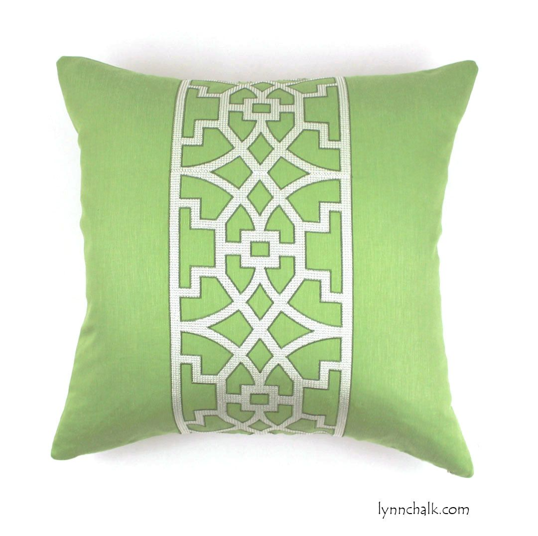 Schumacher mary mcdonald donut fret pillow in lettuce dont do and