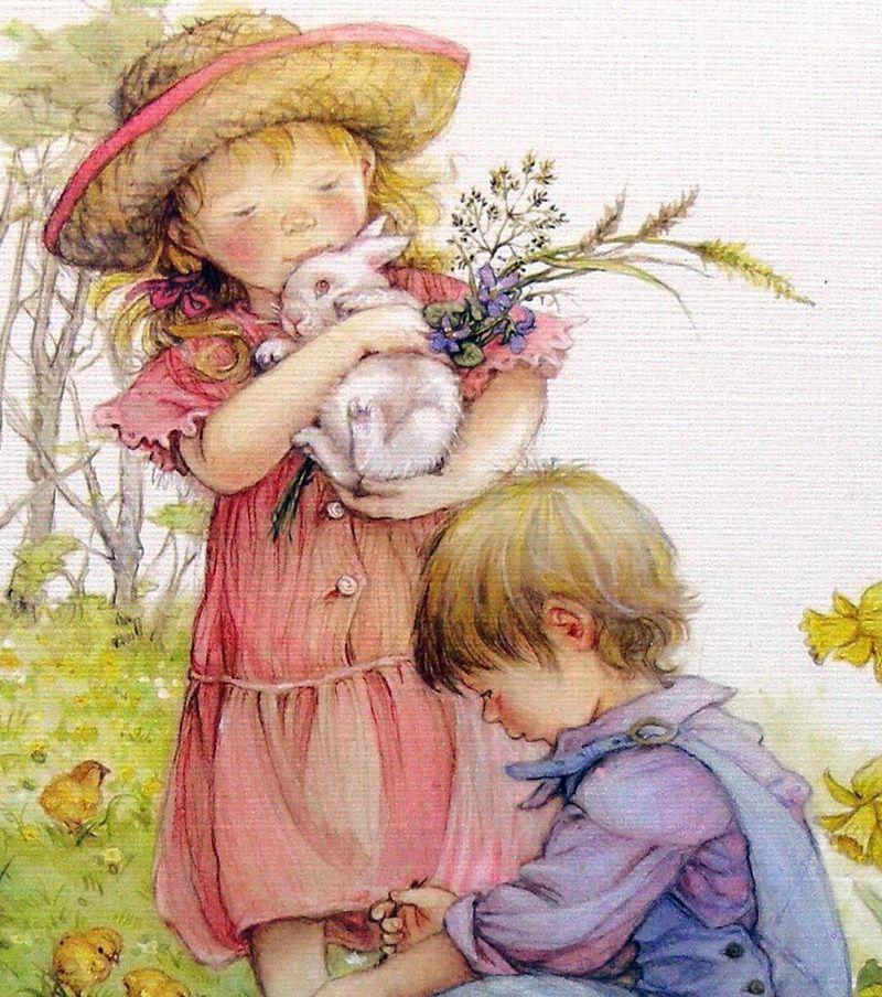 Дети открытки рисованные, лента