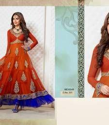 Buy Awesome Esha Gupta Designer Orange shaded anarkali dress anarkali-salwar-kameez online
