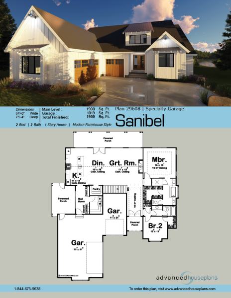 1 story modern farmhouse house plan sanibel