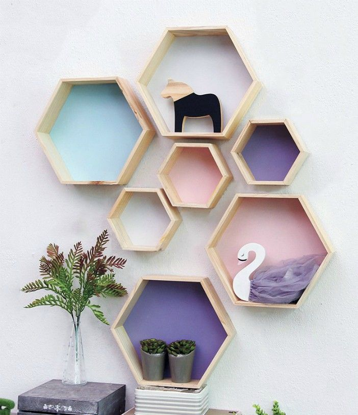 Ideal For Storage And Staging Wall Shelves Are Especially Great For Small Dwellings As They Save Valuable Spa Wall Shelf Decor Hexagon Wall Shelf Wall Shelves