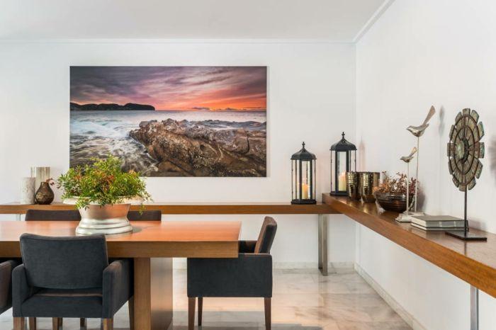 Spectacular wandfarbe weiss wandgestaltung wanddeko foto meer sonnenuntergang esszimmer esstisch st hle