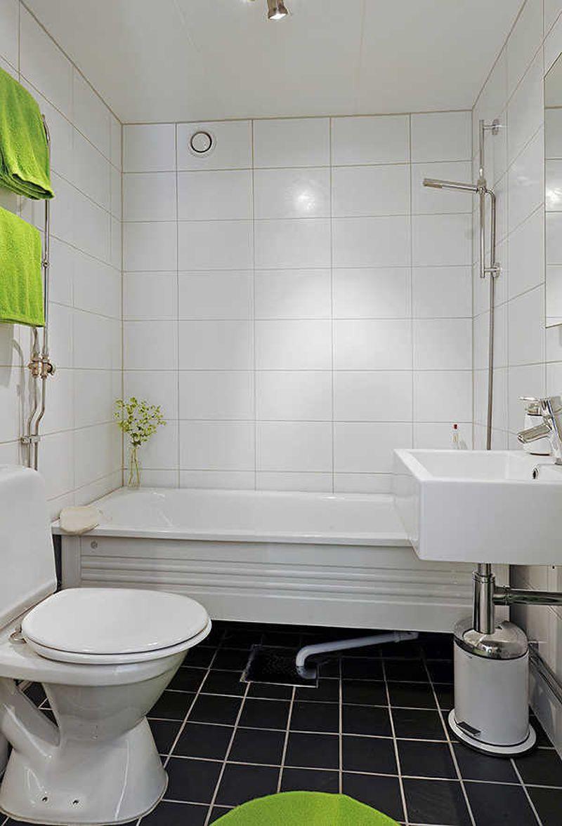 Square And Rectangular Tiles Charming White Small Bathroom Design