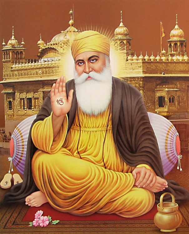 Shri Guru Granth Sahib: Guru Nanak Sitting In Front Of Golden Temple