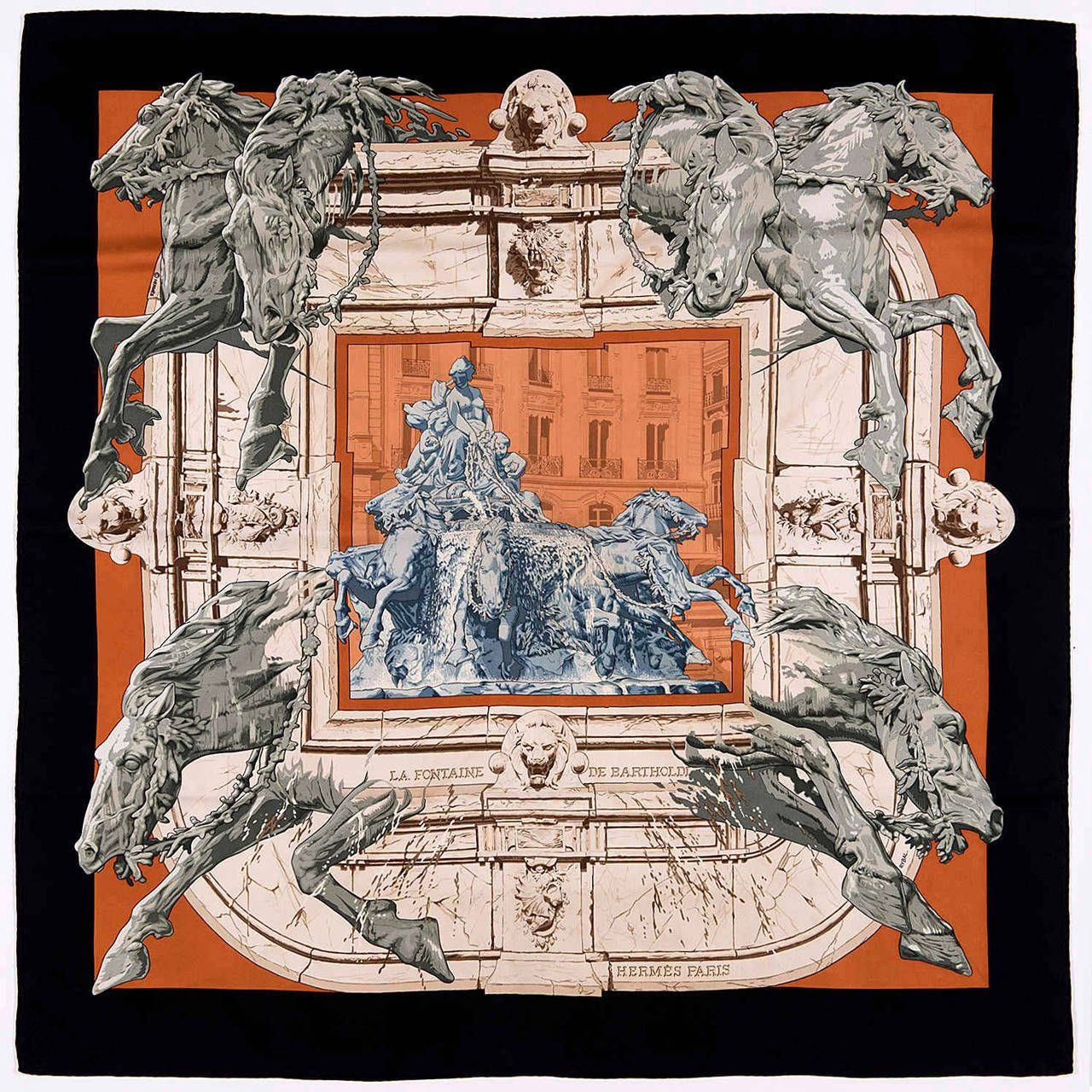 e1715bcdfa58 A Rare Hermes Scarf  La Fontaine de Bartholdi  by Rybal   scarf ...