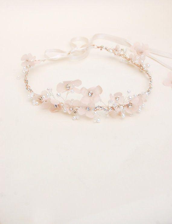wire, rhinestone chain, handmade silk flowers, rhinestones, Japanese pearls, ribbons tie
