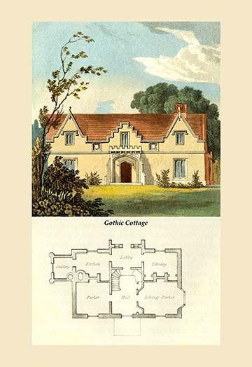 A Gothic Cottage By J B Papworth Art Print Country Cottage Decor Vintage House Plans Cottage Art