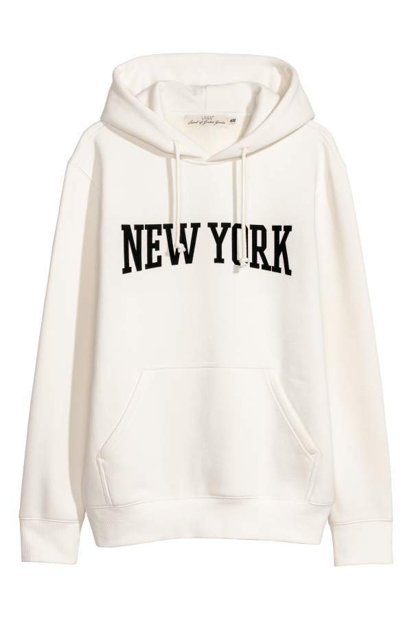 96b37704d H&M Hooded Sweatshirt with Motif - White/New York - Men   Products ...
