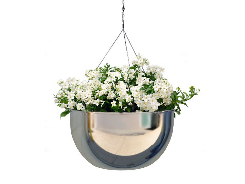 Metallic Mirror Chrome Hanging Bowl With Hanger Indoor Flower Pots