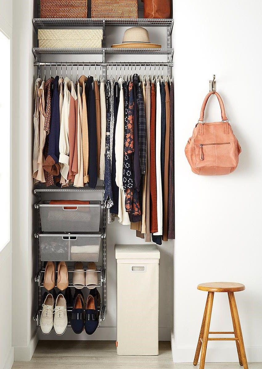 Elfa Classic 3 Platinum Small Space Closet Small Closet Space Small Room Design Closet Planning