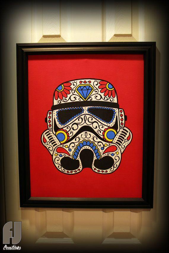 69cd31cd Stormtrooper - Star Wars - Day of the Dead - Sugar Skull - Original Painting .