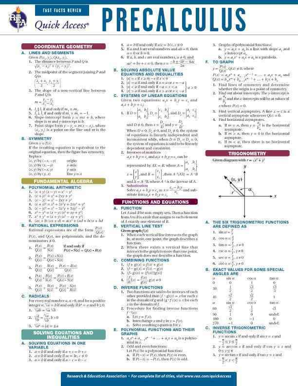 Precalculus: Rea Quick Access Fast Facts Review | Products ...
