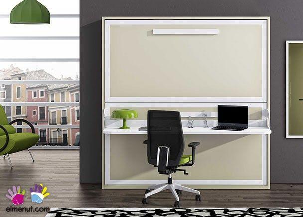 Litera abatible horizontal con escritorio para colchones - Cama pared plegable ...