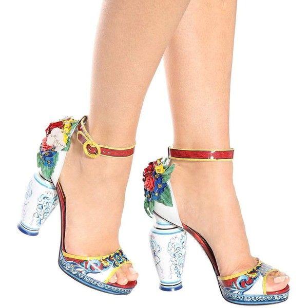 Dolce & GabbanaPrinted patent leather sandals niDrA