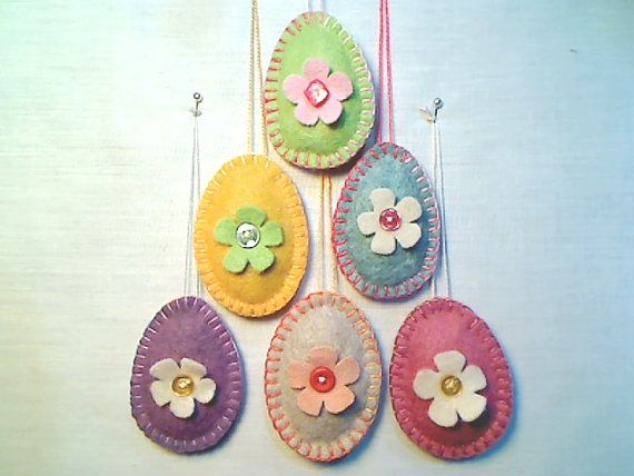 Easter Egg Ornaments..Egg Decorations..Felt by byEmilie11 on Etsy, $16.49
