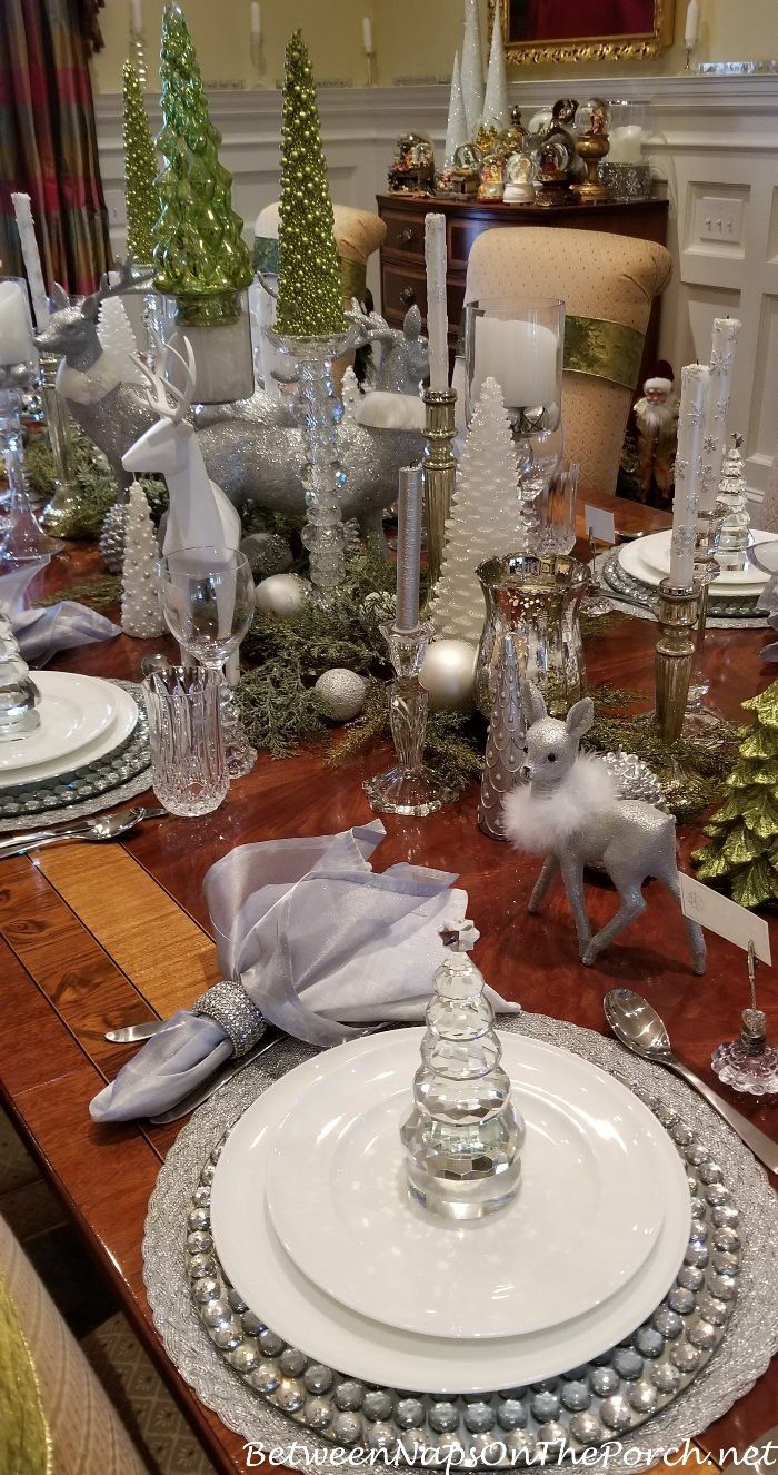 Green, White, Silver and Crystal for an Elegant Table ...