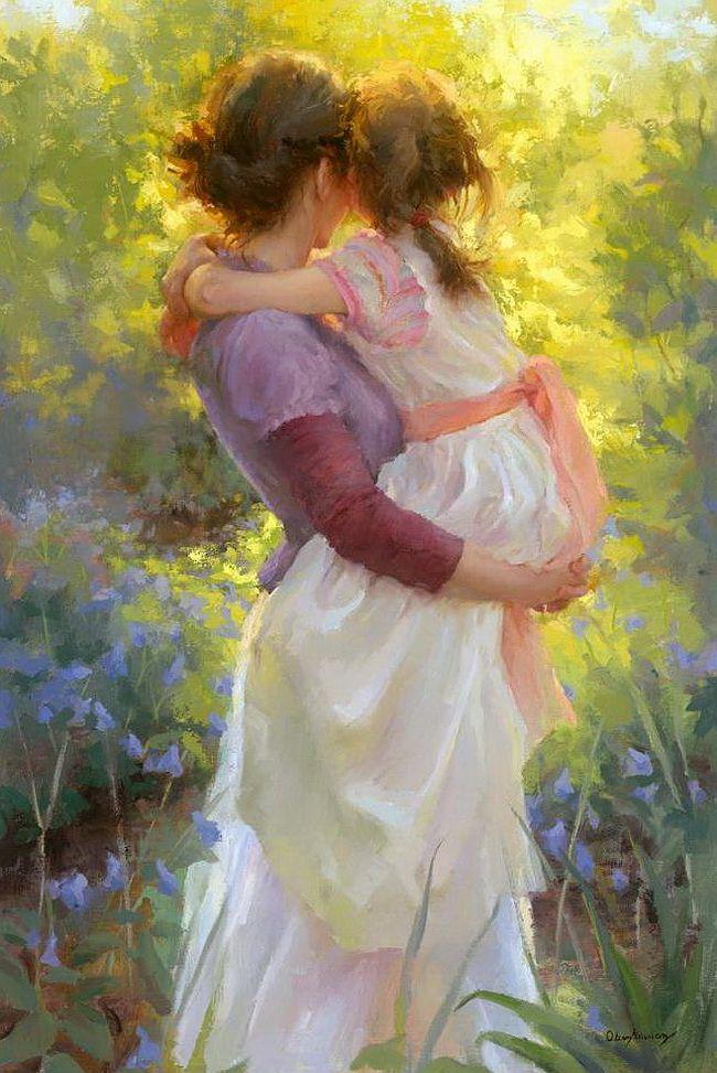 Картинки дочка с мамой рисованные, открытки любимой доброе