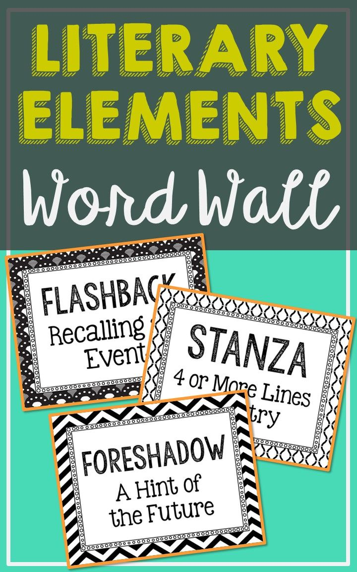Literary Elements And Figurative Language Word Wall Terms With Short Definitions Created In Black White For Easy Printing Easily Add Color That