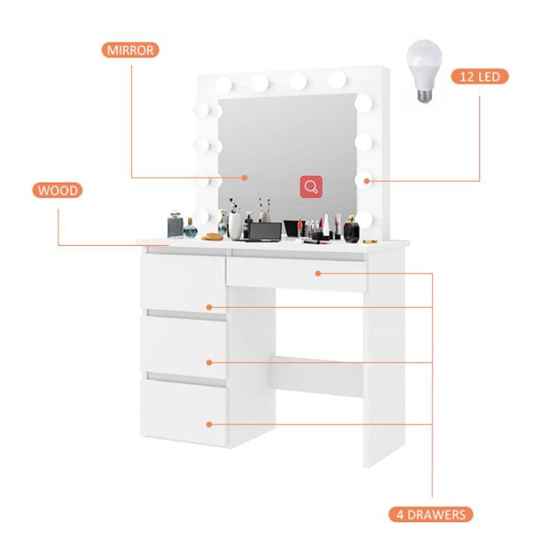 Source Makeup Vanity Dressing Table Dresser Desk With Led Lights And Large Drawer For Bedroom White On M Alibaba Com In 2020 Large Drawers White Bedroom Dresser Desk