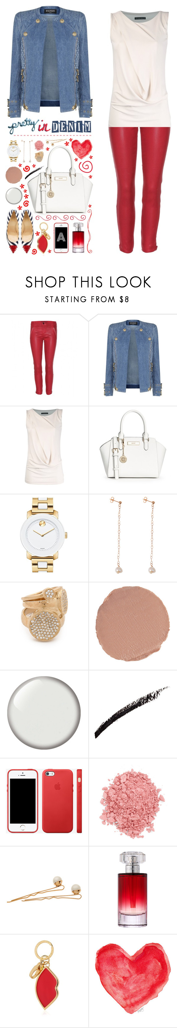"""Pretty in Denim"" by ealkhaldi ❤ liked on Polyvore featuring J Brand, Balmain, Plein Sud, Christian Louboutin, DKNY, Movado, Ginette NY, Melinda Maria, Charlotte Tilbury and Seche"