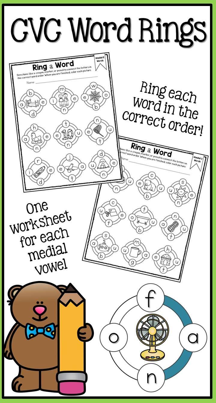 Middle Sound Phonics Worksheet Set | Fun worksheets, Worksheets ...