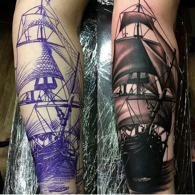 Boat tattoo Artist: Levi Barnett