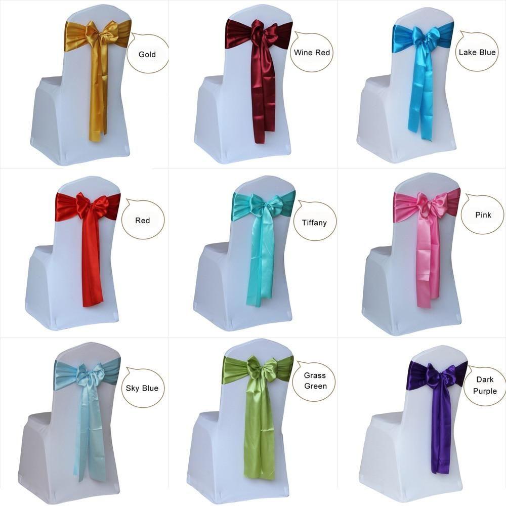 50 pieces satin wedding chair sash wedding chair sashes