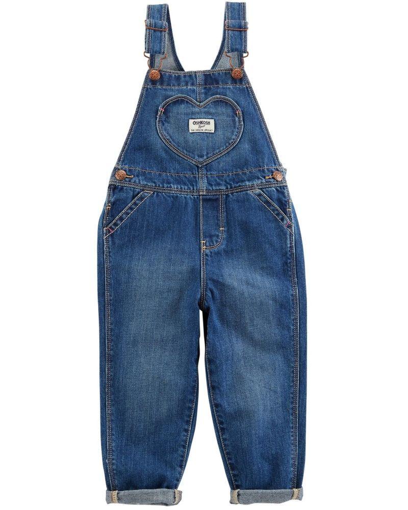 0bdc9fb46dfa New OshKosh Girls Heart Pocket Denim Blue Jeans Overalls NWT 18m 24m ...