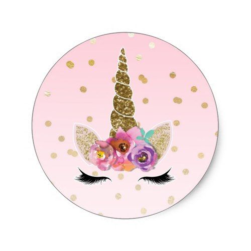 Pink gold unicorn floral horn birthday party favor classic round sticker round stickers and unicorns