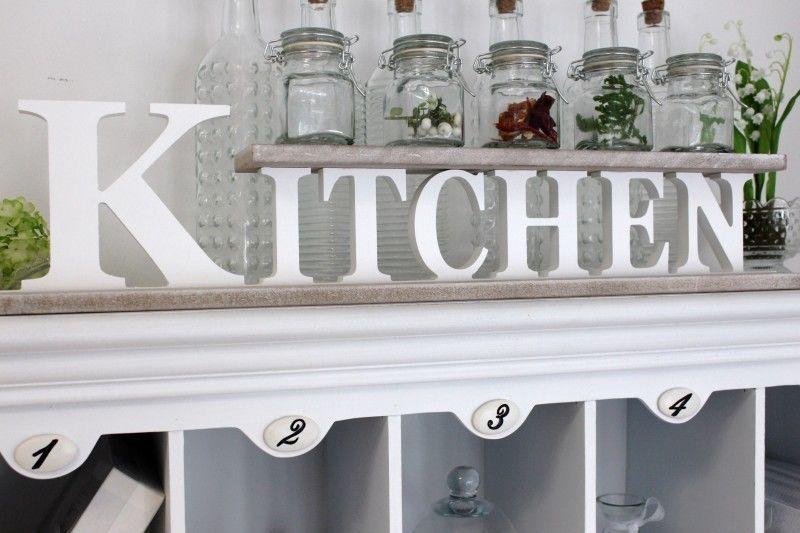 Regal Kitchen Gewürzregal Buchstaben Küche Deko Fensterbank Weiß - wandregal für küche
