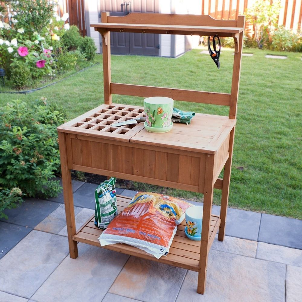 Merry Products Wood Potting Outdoor Bench With Recessed Storage Outdoor Bench Woodpotting Storage Recessed Storage Wood Storage Bench Wood Storage