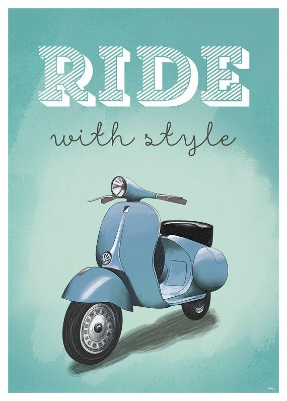Wall Poster Vespa Ride With Style A2 Or A3 Print Illustration Vespa Scooter Roadtrip Motorcycle Vintage Retro Old Freedom In 2021 Vespa Vespa Illustration Vespa Vintage